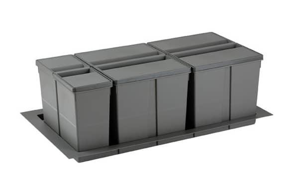 Conjunto de cubos de basura 9XL para cajón 90 cm