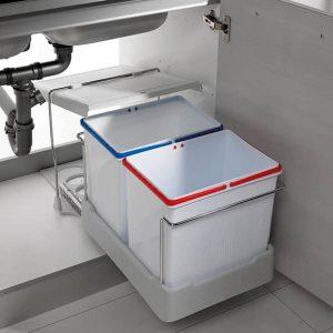 Cubo basura extraíble para mueble capacidad 16L + 16L